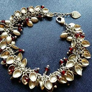 Brass and garnet stone chain bracelet